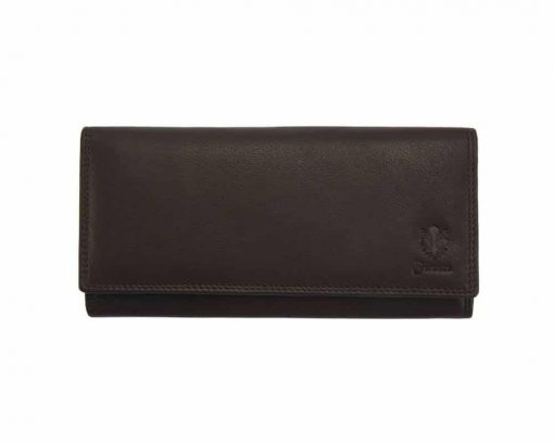 dark brown wallet of natural leather sofia