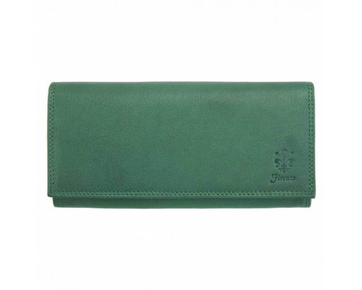 dark greean wallet of natural leather sofia