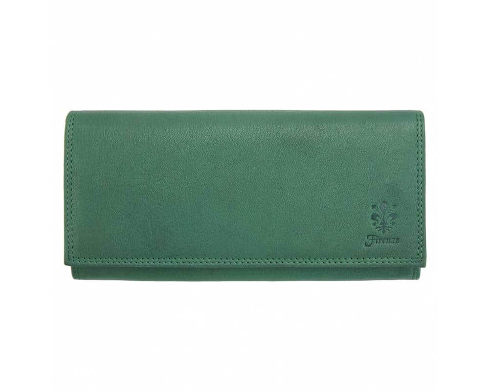 green wallet of natural leather for woman natasa