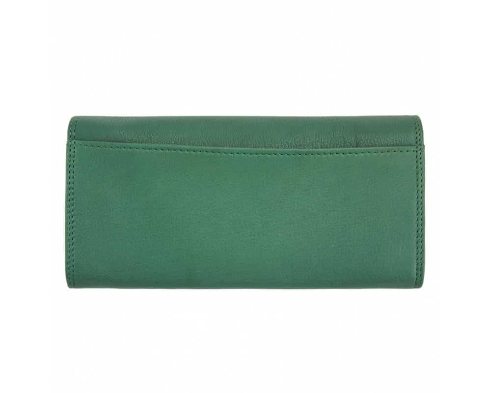 dark greean wallet of natural leather for woman