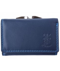 Tri-fold genuine leather wallet Rosaura Colour dark blue for women