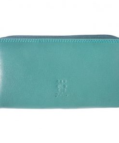 Zippy wallet Serafina in soft cow genuine leather Colour dark turquoise for women