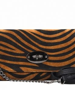 sale buy yellow black clutch zebra style Izusa in natural leather sauvage for women