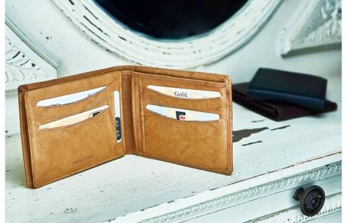 tan handmade wallet in genuine natural leather pavel for men