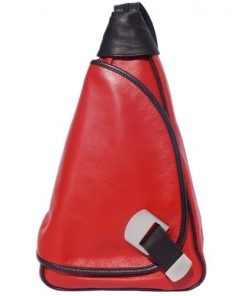 Backpack purse shoulder bag from genuine leather Federica Colour red black for women