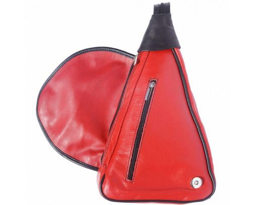 red backpack in genuine leather Tea for women