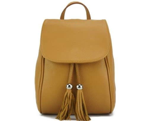 tan backpack Franca in genuine leather from italy for women
