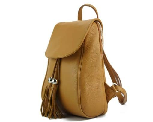 tan backpack Franca in genuine leather for women