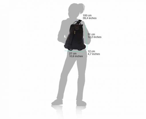 black backpack in genuine leather Oakes for women