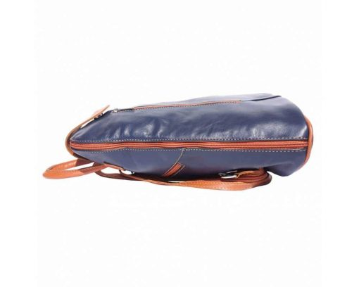 dark blue tan backpack in leather Oakes for woman