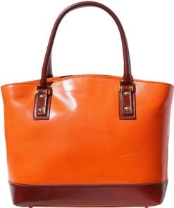 Handbag Domitilla in genuine rigid leather Colour orange brown for women