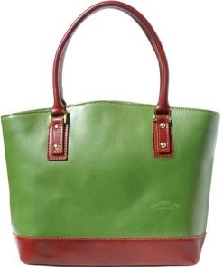 Handbag Domitilla in genuine rigid leather Colour dark green Brown for women
