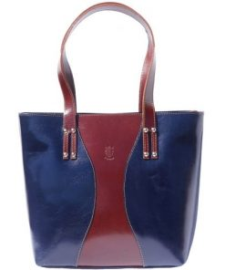 Bag in genuine leather Fedra colour dark blue brown photo for women