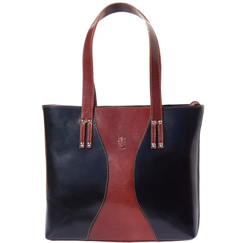 Bag in genuine leather Fedra colour brown black photo for women