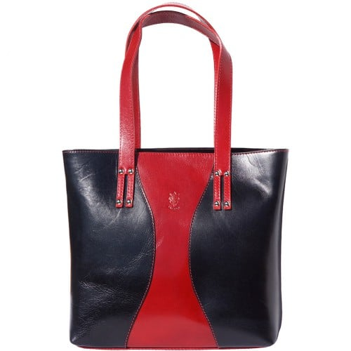 Bag in genuine leather Fedra colour red black photo for women