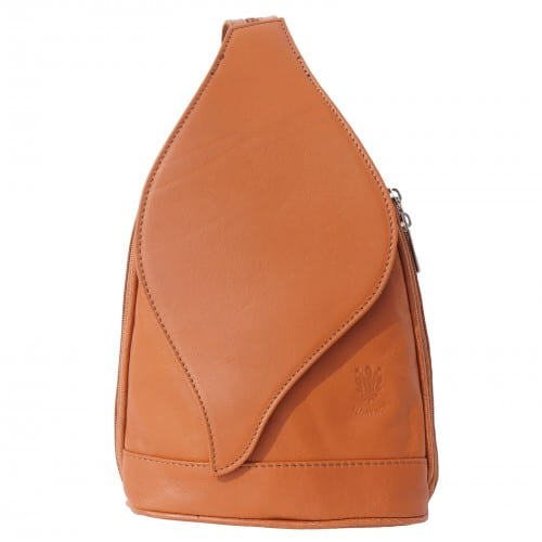 Large backpack Sara in genuine leather Colour tan for women