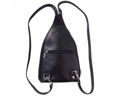 black backpack in genuine leather Tina for men