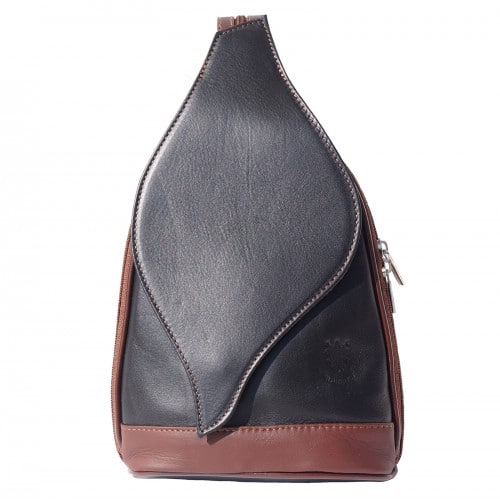 Large backpack Sara in genuine leather Colour black brown for men
