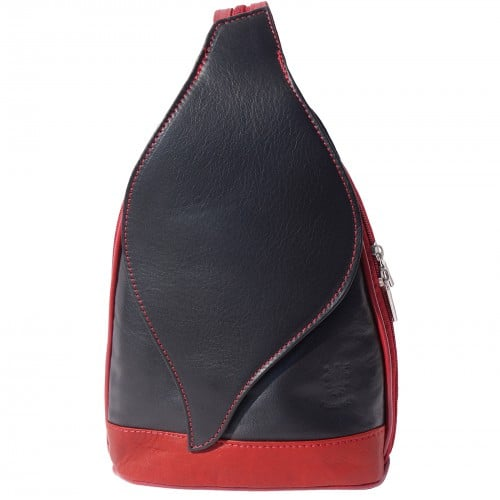 Large backpack Sara in genuine leather Colour black red for women