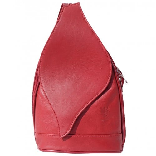 Large backpack Sara in genuine leather Colour light red for women