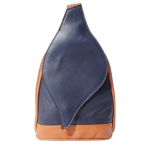 Large backpack Sara in genuine leather Colour dark blue tan for men