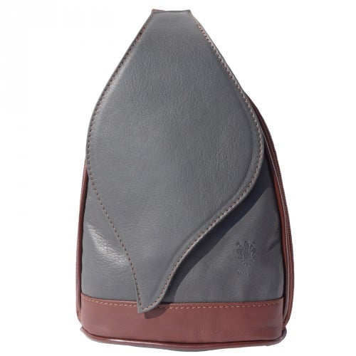 Large backpack Sara in genuine leather Colour dark grey brown for men