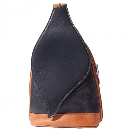 Large backpack Sara in genuine leather Colour black tan for men