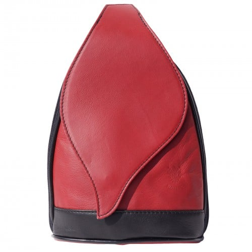 Large backpack Sara in genuine leather Colour red black for women