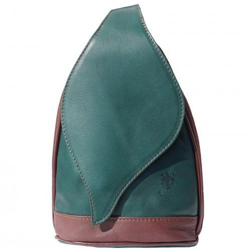 Large backpack Sara in genuine leather Colour Dark Green Brown for men