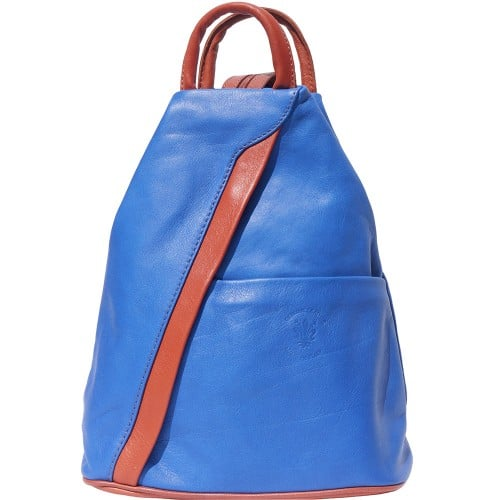 Backpack purse and shoulder bag in genuine leather Alessia Colour electric blue tan for women