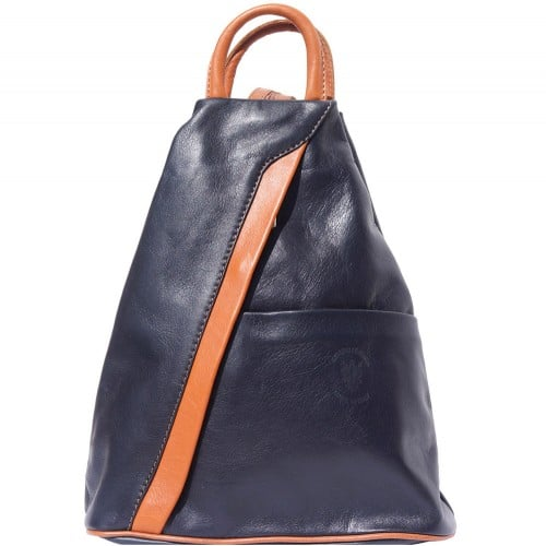 Backpack purse and shoulder bag in genuine leather Alessia Colour dark blue tan for women