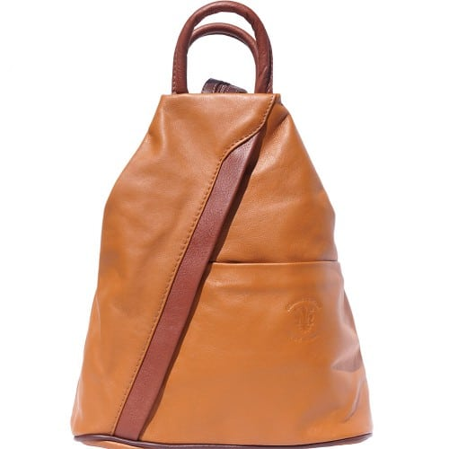 Backpack purse and shoulder bag in genuine leather Alessia Colour tan brown for women