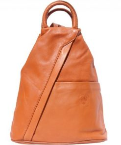 Backpack purse and shoulder bag in genuine leather Alessia Colour tan for women