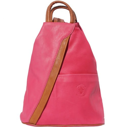 Backpack purse and shoulder bag in genuine leather Alessia Colour fuchsia tan for women