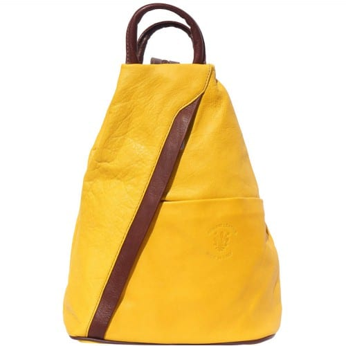 Backpack purse and shoulder bag in genuine leather Alessia Colour yellow brown for women