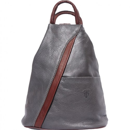 Backpack purse and shoulder bag in genuine leather Alessia Colour grey brown for women