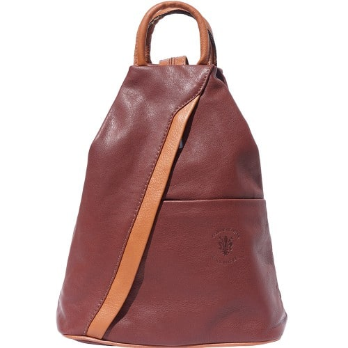 Backpack purse and shoulder bag in genuine leather Alessia Colour brown tan for women