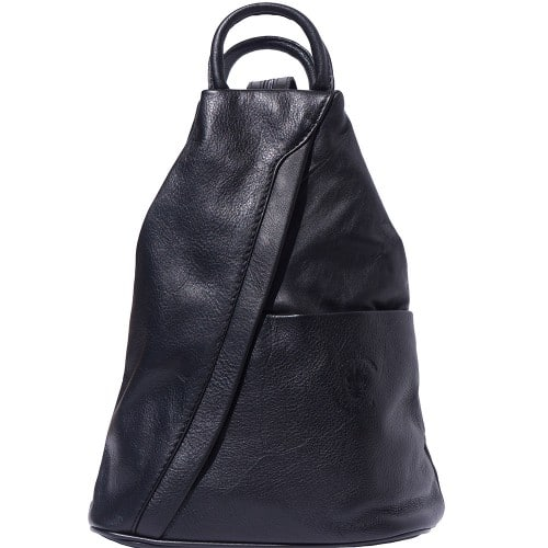 Backpack purse and shoulder bag in genuine leather Alessia Colour black for men