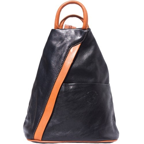 Backpack purse and shoulder bag in genuine leather Alessia Colour black tan for women