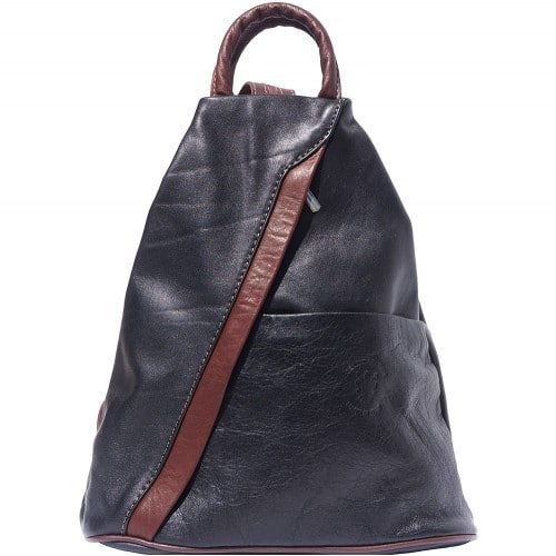 Backpack purse and shoulder bag in genuine leather Alessia Colour black brown for men