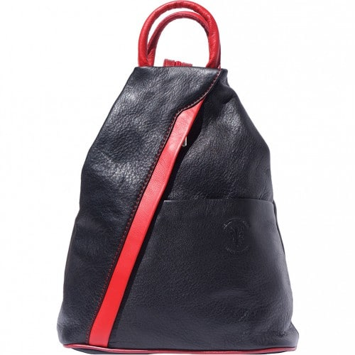 Backpack purse and shoulder bag in genuine leather Alessia Colour black red for women