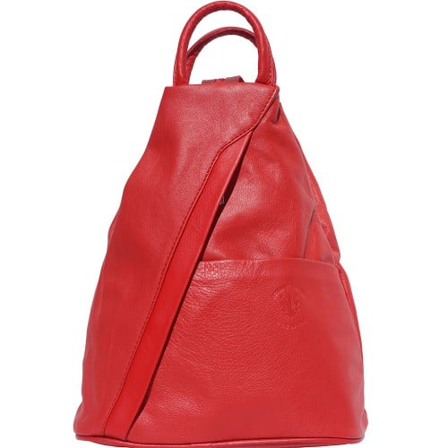 Backpack purse and shoulder bag in genuine leather Alessia Colour light red for women