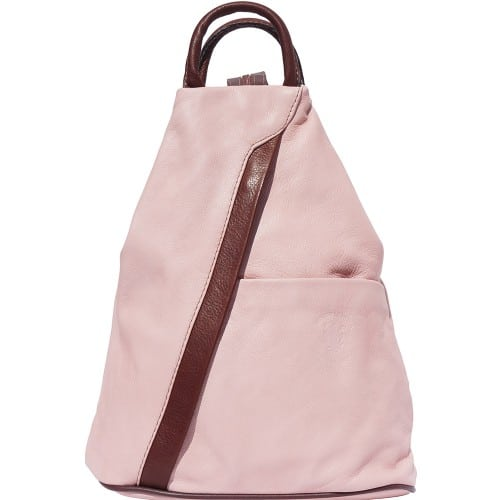 Backpack purse and shoulder bag in genuine leather Alessia Colour pink brown for women