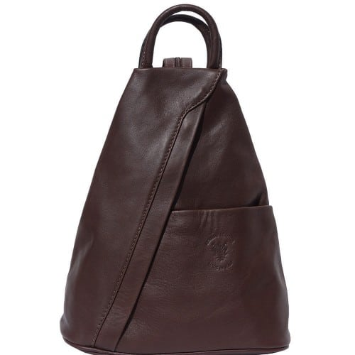 Backpack purse and shoulder bag in genuine leather Alessia Colour dark brown for men