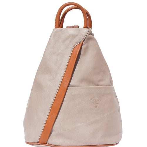Backpack purse and shoulder bag in genuine leather Alessia Colour light taupe tan for women