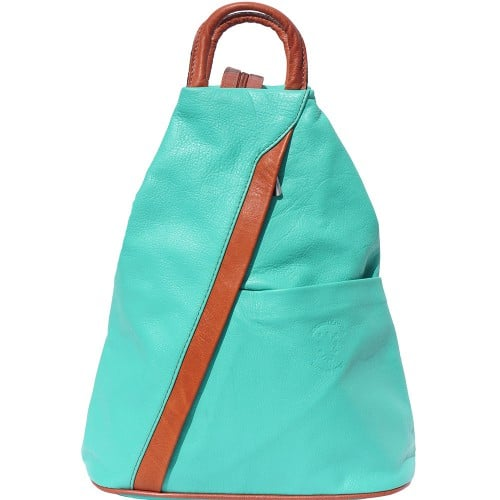 Backpack purse and shoulder bag in genuine leather Alessia Colour Turquoise Tan for women