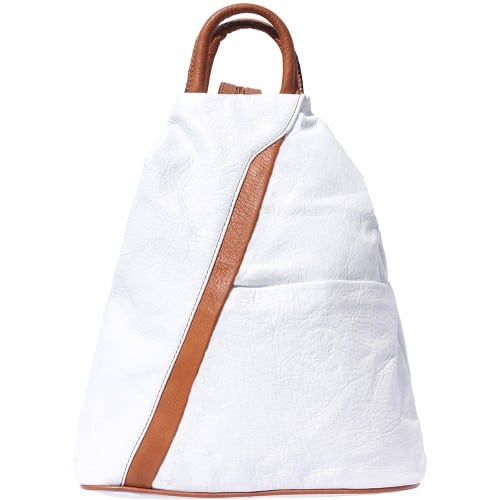 Backpack purse and shoulder bag in genuine leather Alessia Colour electric white tan for women
