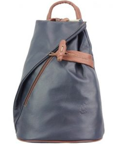 Backpack purse and shoulder bag in genuine leather Chiara Colour dark blue brown for women
