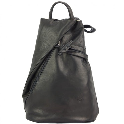 Backpack purse and shoulder bag in genuine leather Chiara Colour black for women