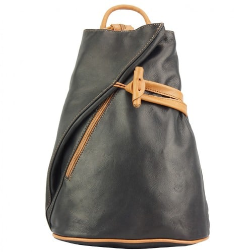Backpack purse and shoulder bag in genuine leather Chiara Colour black tan for women